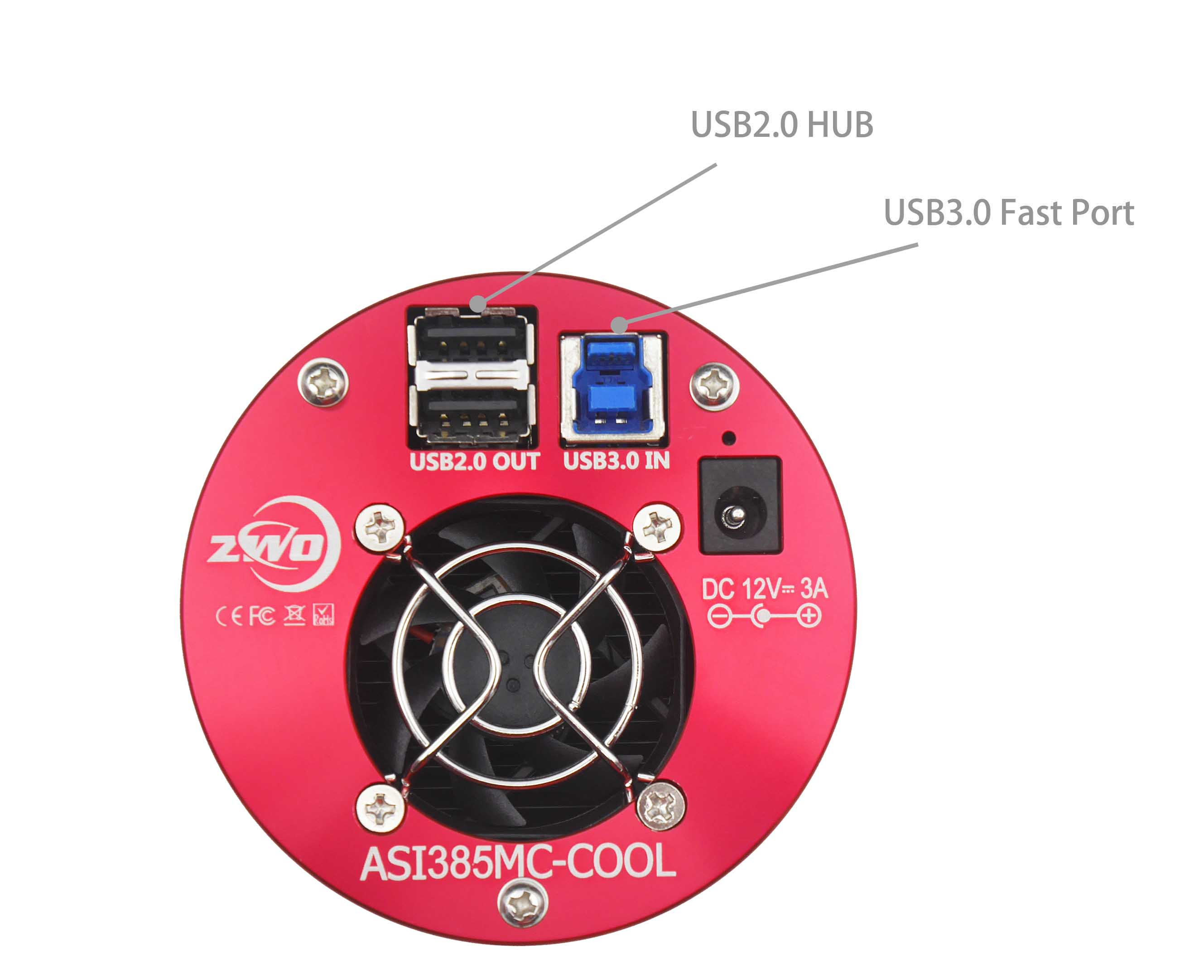 Asi385mc Cool Color Zwo Asi To Deliver More Current Connect An External Power Source And There Are 2 Short 05m Usb20 Cable Come With The Of Hub From Supply If You It