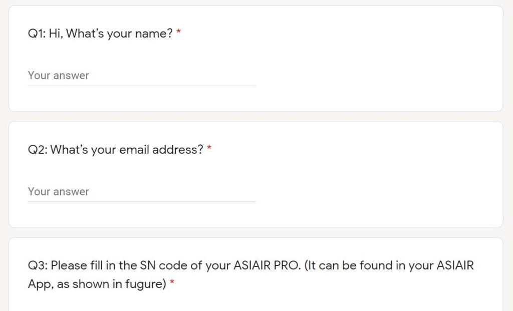 Application form - screenshot