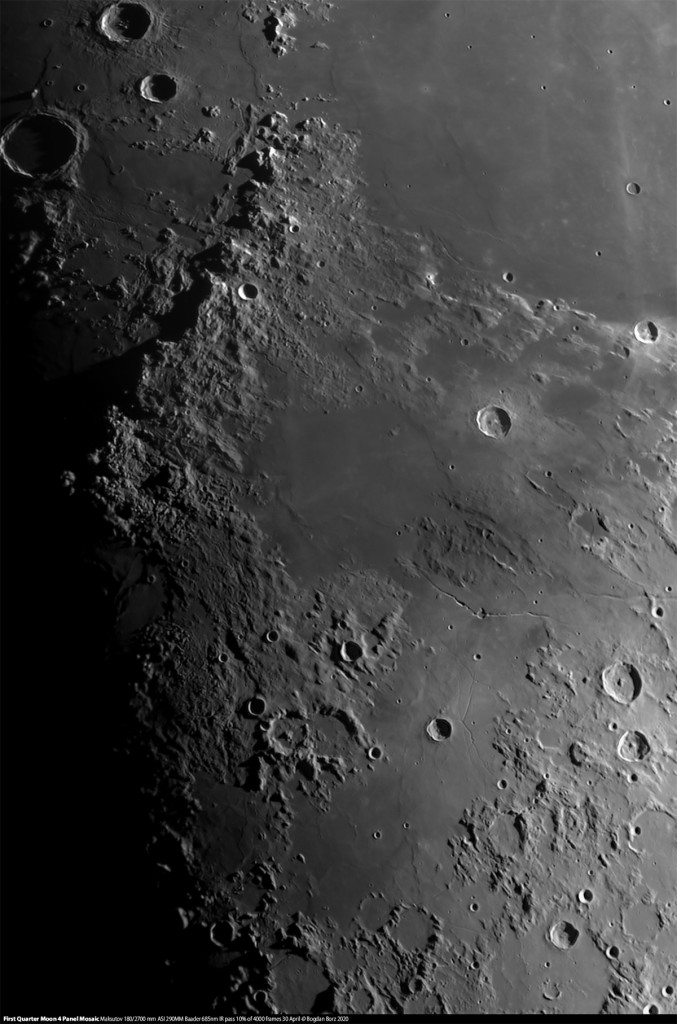 First Quarter Moon 4 Panel Mosaic