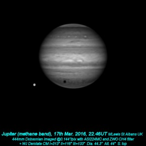 The CH4 image was taken by Martin Lewis with ZWO ASI224MC and CH4 filter.