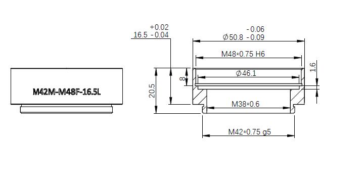 M42-M48 extender-mechanical drawing