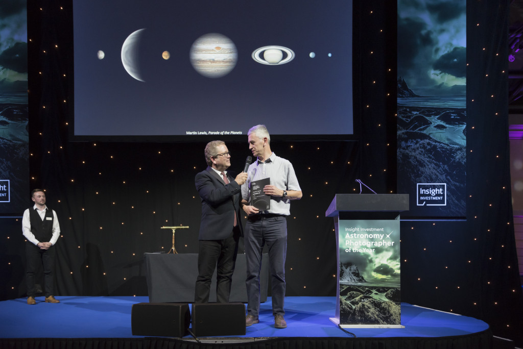 Insight Investment Astronomy Photographer of the Year 2018 award ceremony on 23rd October 2018 at the National Maritime Museum, Royal Museums Greenwich. Martin Lewis receives his award from John Culshaw at IIAPY 2018.