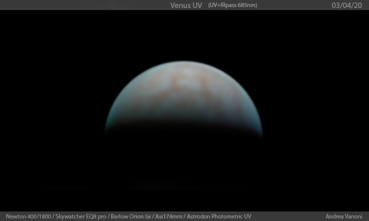Venus in UV light, Newton ARES 405mm, Skywatcher EQ8, Astrodon UV, Barlow orion 5x, Asi174mm
