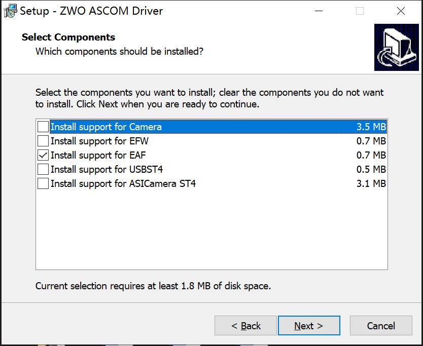 ZWO ASCOM driver-EAF