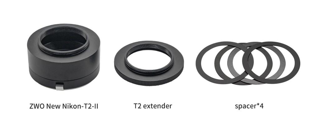 ZWO Nuovo elenco di pacchetti di adattatori Nikon-T2-Ⅱ