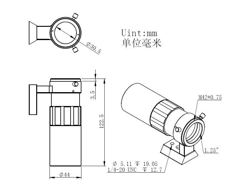 mini scope mechanical drawing