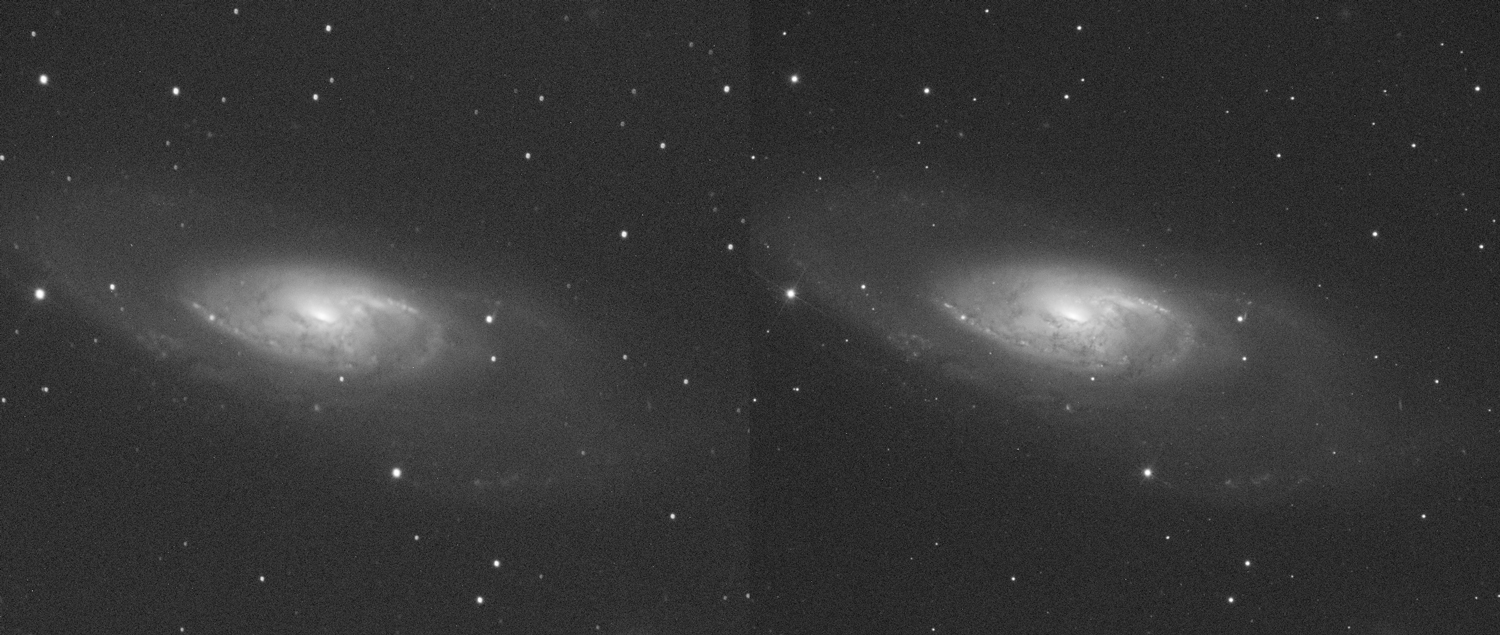 The image on the left shows Messier 106 under 3.66 arcsec seeing conditions, and on the right under 1.66 arcsec seeing conditions. At this case we used L filter.