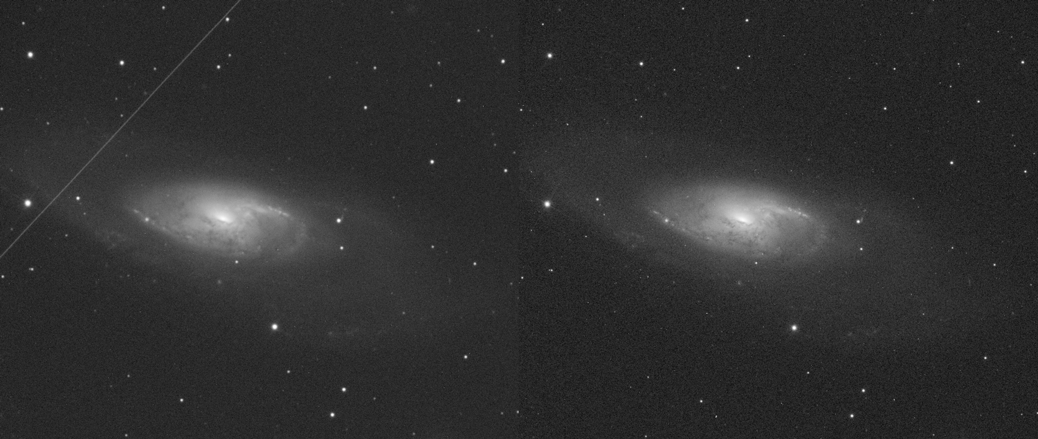 The image on the left shows Messier 106 under 2.55 arcsec seeing conditions, and on the right under 1.49 arcsec seeing conditions. At this case we used R filter.